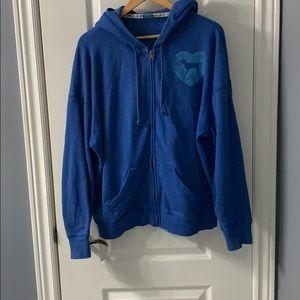 Blue full zip hoodie by PINK